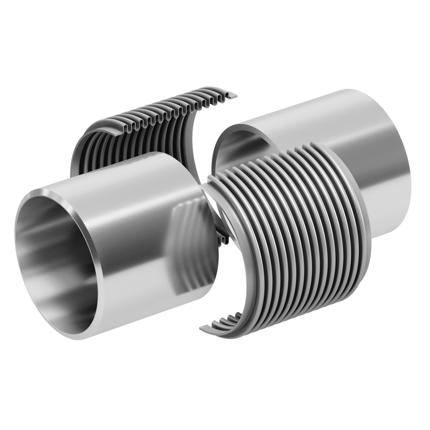 La línea de la tubería debe cerrarse para instalar un clamshell del mismo tamaño y el fuelle existente que se va a reemplazar se retira y se desecha.