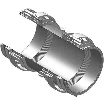 Double gimbal expansion joint with flanges or welding ends