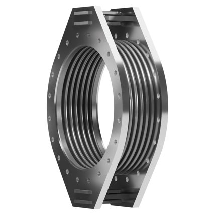 Hinged expansion joint with flanges.