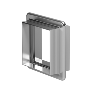 Rectangular expansion joint with U-shaped convolutions and round corner.