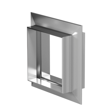 Rectangular expansion joint with V-shaped convolutions and miter corner.