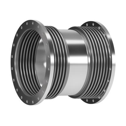 Este modelo está compuesto por dos fuelles unidos por una tubería central y bridas de conexión.