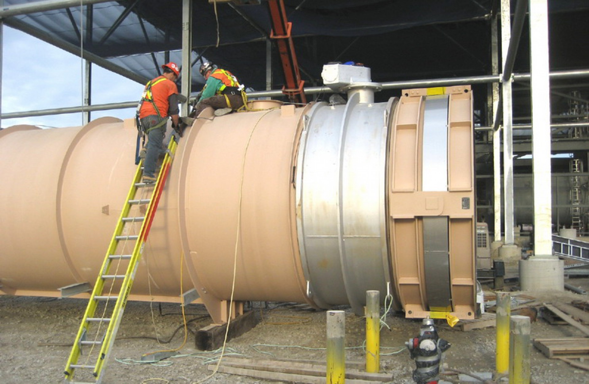 On-Site Works. Assembly of Hinged DN 2400 in MA, USA